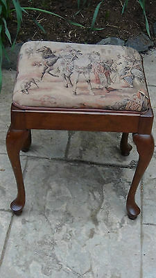Antique French Ladies Dressing ,sawing Stool Tapestry Needlepointcabriole Legs