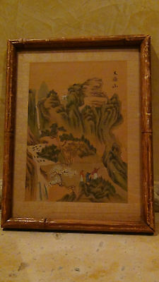 """Antique Chinese  Watercolor On Paper Painting """"village Scene""""signed, #1"""