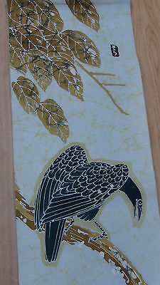 "Antique Japanese Hanging Batik Scroll Painting On Fabric,""eagle""  Artist Signed"