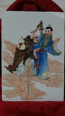 """Antique 19C Chinese Famille Rose Porcelain Painted Plaque """" 2 Immortals """"signed"""