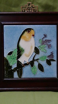Antique  Cninese Hand Painted Beautiful Bird  Porcelain  Plaque Rosewood Frame
