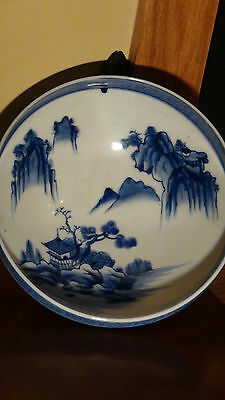 "Antique Japanese Blue And White Imary Bowl ""landscaping Scene"""
