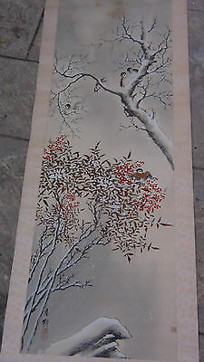 "Antique 19C  Chinese Watercolor  Painting  On Paper "" Birds On Tree In Winter"""