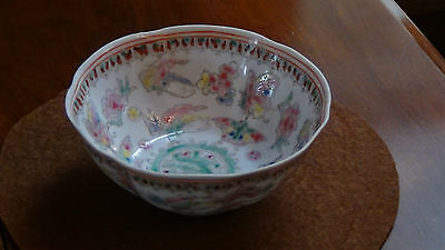 Antique19C Chinese Famille Rose Porcelain Butterflies&dragon Bowl Mark On Bottom