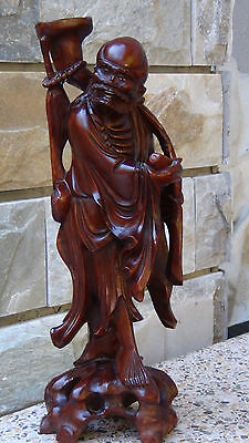 Antique 19C Chinese Rosewood Hand Carved Immortal  On The Carved Base Statue