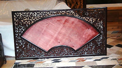 "ANTIQUE 19C CHINESE WOOD CARVED PIERCED PLAQUE,PAINTING FRAME FAN SHAPE 57""x 31"""