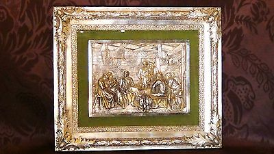 """Antique German Silverplated  And Goldplated """"tavern Scene"""" Wall Plaque,framed"""