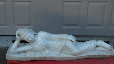 Antique 18C Asian Chinese White Marble Carved Reclining Large Statue Of Buddha