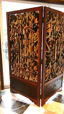 Antique Japanese Meiji Period Obi Kake Kimono Stand Screen Panel With Curtains