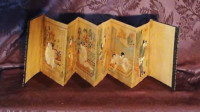 "Antique 18C Japanese Original 6 ""Shunga"" Watercolor Paintings In Folding Album"