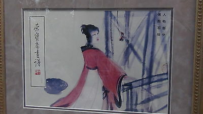 "Antique Chinese Original Print ""beauty Near The Window"" Signed,sealed In Frame"