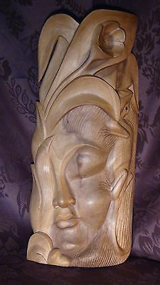 Antique Chinese Tropical Wood Carved Rare Sliping Woman Face Mask With A Lizard