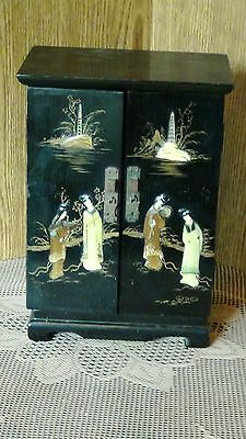 Antique 19C Chinese Wood Lacquered Polychrome Painted &stone Inlay Jewerly Box.