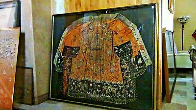 """Chinese Old Dynasty Palace Embroidered"""" 11 Dragons""""silk Emperor,robe Framed"""