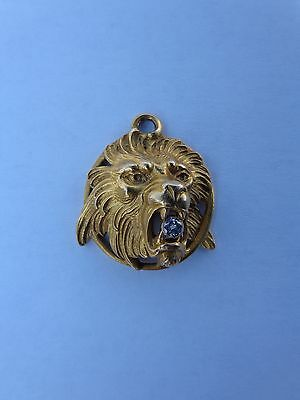 Marvelous Authentic Art Nouveau French 18K Gold Lion Leo Zodiac Diamond Pendant!