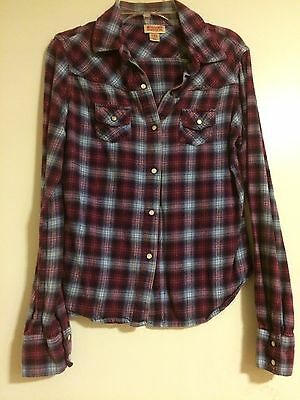 Mossimo Purple/Blue Plaid Button Front L/S Flannel Shirt Size XS FREE SHIP