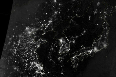24x36 Poster - Map Of North And South Korea At Night (antique reproduction)