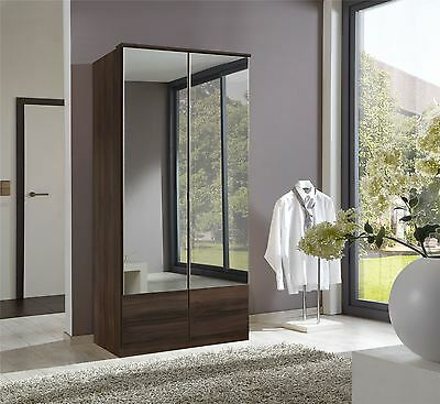 German Imago Colombian Walnut 2 Door 90cm Wardrobe with mirrors