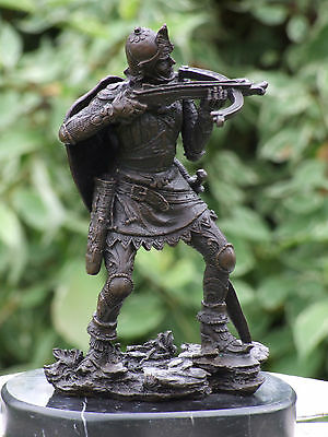 MEDIEVAL WARRIOR ARCHER SAMURAI WITH CROSSBOW PURE HOTCAST BRONZE SIGNED STATUE