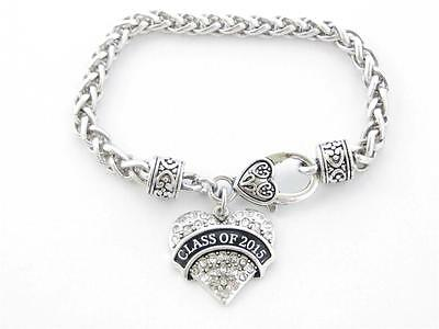 Class of 2015 Graduation Crystal Heart Silver Bracelet Jewelry Senior Gift