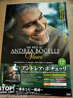 "ANDREA BOCELLI Best of CD JAPAN PROMO Poster ~20"" x 28.5"" Shipped Rolled 2008"