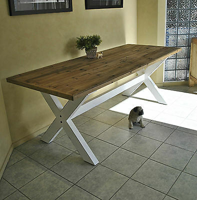 Large Rustic French Style Country Farmhouse Recycled Refectory Dining Table