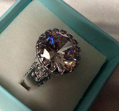 Huge Gothic 13mm White Topaz 17.6 CT 925 Silver Sparkling Cocktail Ring Size 9