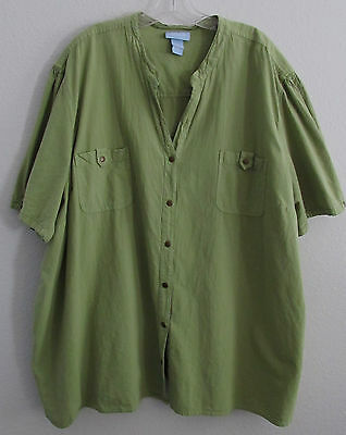 Liz & Me Top Plus 5X 34 36 W Green Cotton Short Sleeve Snap Up Shirt