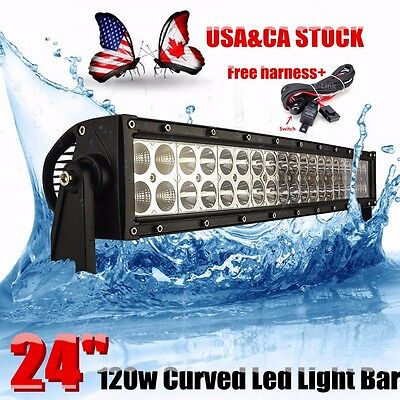 24Inch 120W Led Curved Work Light Bar Flood Spot Combo Beam Driving Offroad 4Wd