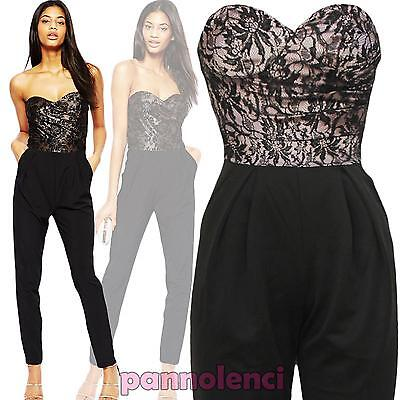 Overall donna tutina jumpsuit pantaloni bustino PIZZO abito party nuovo DL-1508