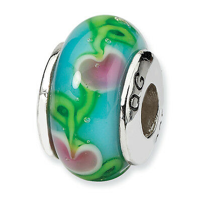 Blue & Pink Hand Blown Glass Kids Bead .925 Sterling Silver Reflection Beads