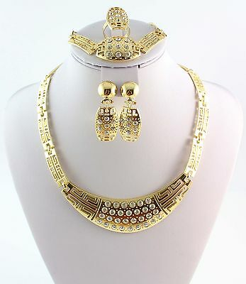 Fashion Gold Plated Crystal Necklace Bracelet Ring Earring Wedding Party Set