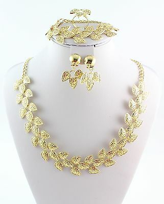 New Design 18k Gold Plated  African Leaf Necklace Wedding Bridal Jewelry Set