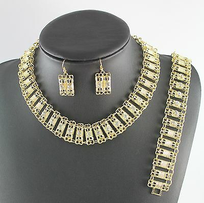 Brand New 18K Gold Plated Clear Crystal Necklace Bracelet Earring Jewelry Set