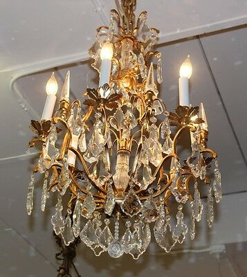 Stunning French Louis XV Gilded Iron Crystal 8 Light Chandelier WOW Small Size!