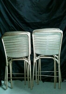 4 Vintage Mid Century Modern Cosco Metal Folding Chairs Brown Retro Post-1950