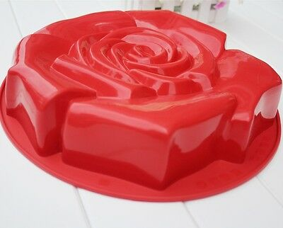 "9"" big Silicone Rose Flower Shape Bakeware pan baking Mold Cake baking tray 1pcs"