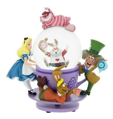 disney parks alice in wonderland mad tea party snowglobe new with box