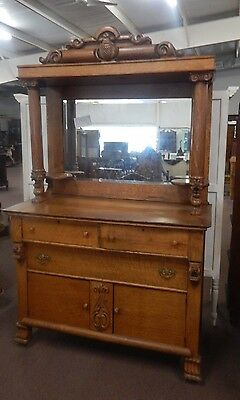 antique Tiger Oak Ornate Carved Lion Head & Paw Foot Buffet Sideboard