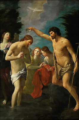 24x36 Poster; Baptism Of Jesus Christ By Guido Reni 1622
