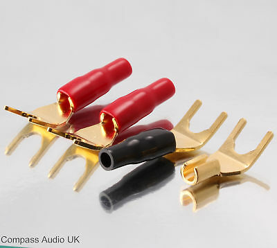 4 Gold Spade Terminal Connectors Insulated for Speaker Cable Wide Fork