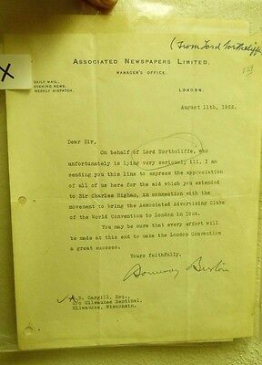 1922 LETTER ON THE BEHALF LORD NORTHCLIFFE OF DAILY MAIL DAYS BEFORE DEATH  S1X