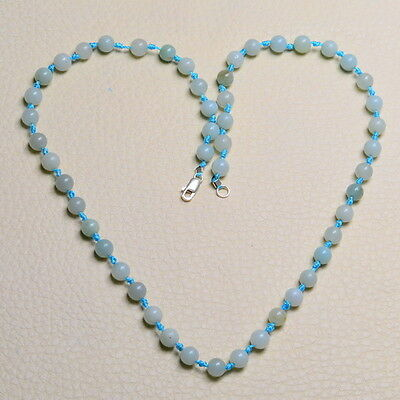 "19 5/8"" BLUE JADE GEMSTONE 100% SOLID 925 STERLING SILVER NECKLACE"