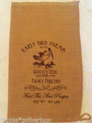 "Natural Burlap Bag Sack CHICKENS, EARLY BIRD FARMS Design in Black -  20"" x 12"""