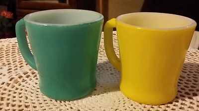 2 Vintage  Fire King D Handle Coffee Cups Mugs, Yellow and Teal