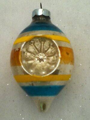 $1 Vintage Glass Christmas Ornament Made In USA Indent Bulb Stripes