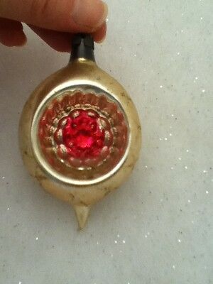 $1 Vintage Glass Christmas Ornament Poland Indent Bulb W Flowers Pink Ivory