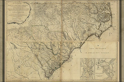 24x36 Poster; Map Of North And South Carolina 1777; Antique Reprint