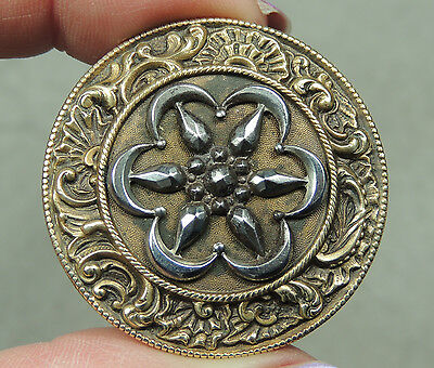 ANTIQUE BRASS BUTTON W/ CUT STEEL DESIGN    METAL ORNATE BORDER