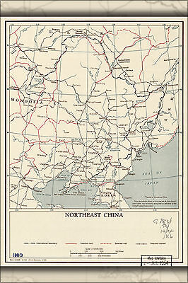 24x36 Poster; Cia Map Of Northeast China 1954; Antique Reprint